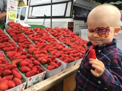 Amos picking out some berries at the farmers market!