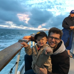 Amos and Daddy on the whale watching tour.