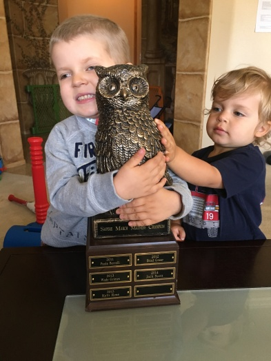 Hootie- a beloved trophy won last year for Sapere's March Madness