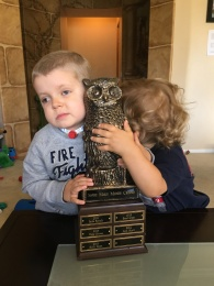 Saying goodbye to Hootie since we did not win this year... (very sad boys right here!)