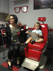 Amos with his vision therapist, Dr. Rakov. She's fun!