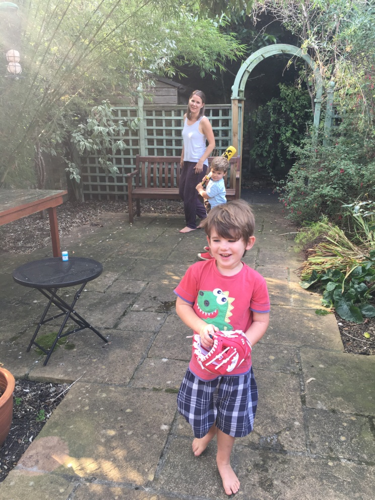 Playing in our garden with great friends!