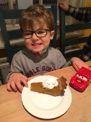 Pretty excited about his piece of (paleo) pumpkin pie!