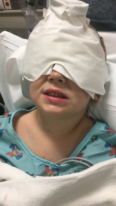 Amos right out of eye surgery