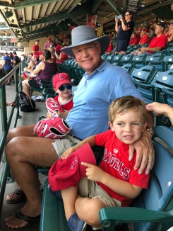 Grandpa and the boys at the Angels game