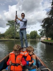 Me punting my family up the Cam shortly after submitting my dissertation
