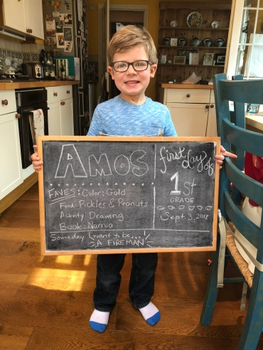 Amos's first day at school
