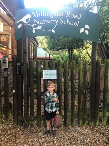 Luke's first day back at nursery school.