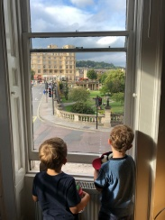 Back to Bath (sorry, out of order), the boys looking out our apartment window.