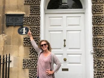 Kelli at the door of Jane Austen's home (she wasn't in)