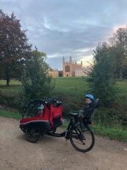 Our beloved cargo bike outside Kings
