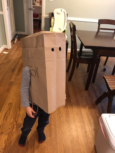 Not many toys . . . how 'bout a bag costume?